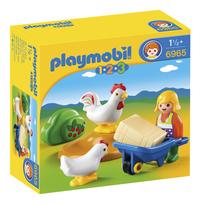 Playmobil 1.2.3 6965 Boerin met haan en kip