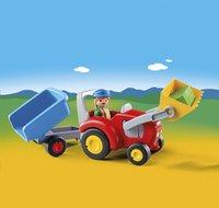 Playmobil 1.2.3 6964 Boer met tractor en aanhangwagen-Afbeelding 1