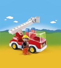Playmobil 1.2.3 6967 Brandweerwagen met ladder-Afbeelding 1