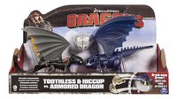 Speelset Dragons Toothless & Hiccup vs. Armored Dragon blauw