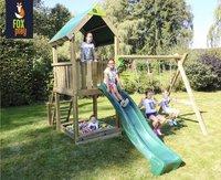Fox play schommel met speeltoren Riverside met groene glijbaan