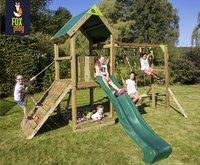 Fox play Schommel met speeltoren Riverside + klimrek en groene glijbaan
