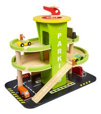 DreamLand garage parking en bois avec 3 petites voitures et 1 hélicoptère-commercieel beeld