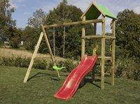 BnB Wood portique Little Eden avec toboggan rouge-Image 1