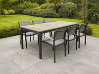 Table de jardin à rallonge Marbella grey wash/anthracite L 200 x Lg 90 cm