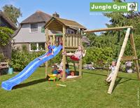 Jungle Gym portique en bois Cottage avec toboggan bleu-Image 1
