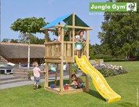Jungle Gym houten speeltoren De Hut met gele glijbaan
