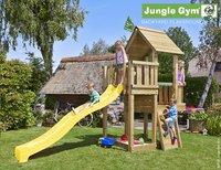 Jungle Gym houten speeltoren Cubby met gele glijbaan