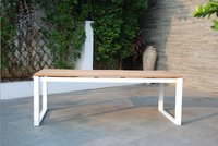 Table de jardin Selena blanc L 220 x Lg 100 cm-Image 6