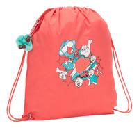 Kipling sac de gymnastique Supertaboo Light Peachy Pink Fun-Côté gauche