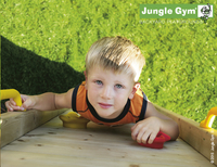 Jungle Gym Houten speeltoren Barn met groene glijbaan-Afbeelding 4
