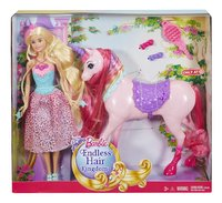 Barbie set de jeu Endless Hair Kingdom Princesse et licorne-Avant