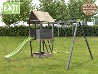 EXIT portique en bois avec toboggan vert-Image 1