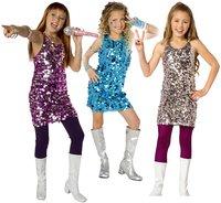 Verkleedpak pop star 7-9 jaar roze