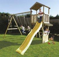 BnB Wood schommel met speeltoren Nieuwpoort + winkeltje Shop en gele glijbaan-Afbeelding 1