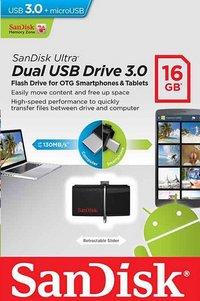 SanDisk USB-stick Ultra Dual 3.0 16 GB zwart
