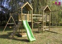 BnB Wood ensemble portique complet Nieuwpoort avec toboggan vert pomme