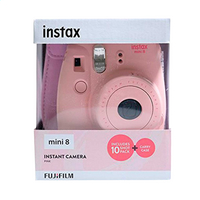 Fujifilm appareil photo instax mini 8 rose + pack de 10 photos et étui