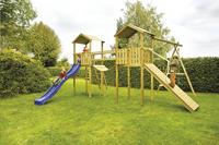 BnB Wood complete schommelset Nieuwpoort met blauwe glijbaan