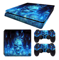 PS4 Slim console skins + 2 controllers skins Blue Skull