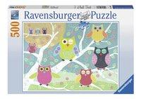 Ravensburger Puzzel Vrolijk gekleurde nachtuilen-Vooraanzicht