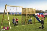 BnB Wood schommel met speeltoren Goal met blauwe glijbaan-Afbeelding 2