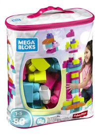 Mega Bloks Big Building Bag roze - 80 stuks-Linkerzijde