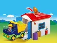 Playmobil 1.2.3 6759 Vrachtwagen met garage-Afbeelding 1