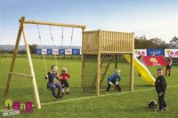 BnB Wood portique avec tour de jeu Goal et toboggan jaune-Image 2