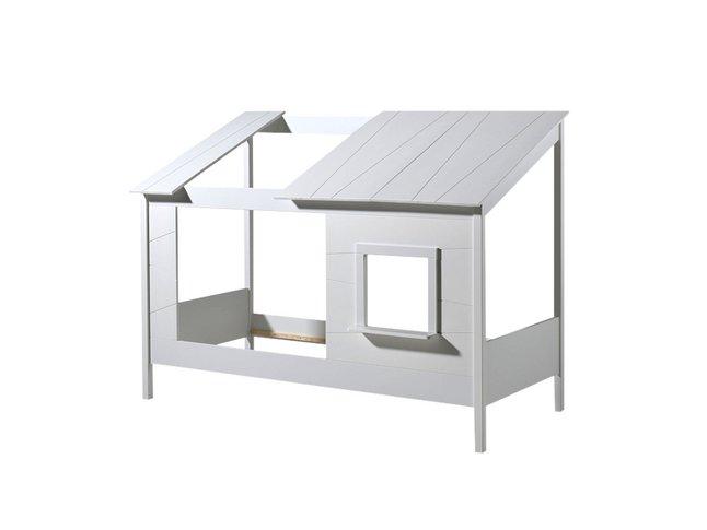 Vipack huisbed met open dak en raam wit