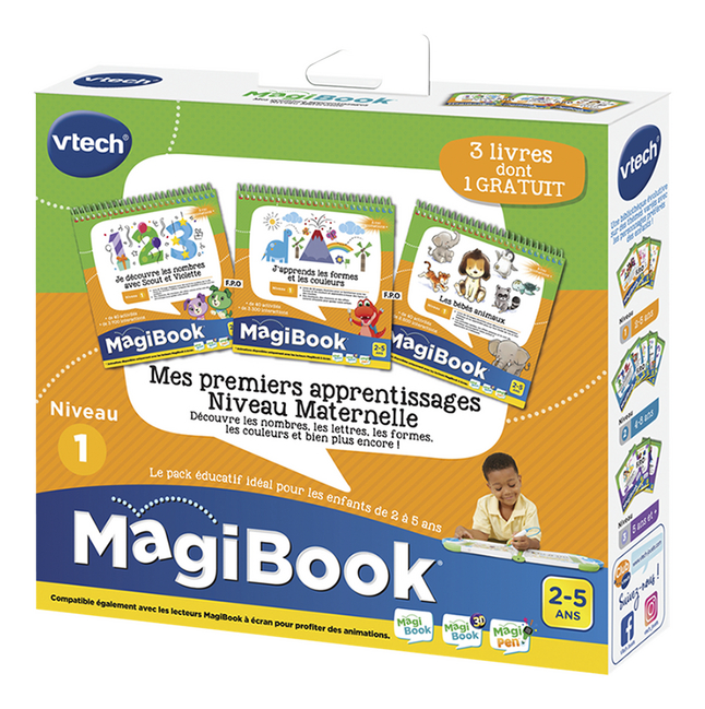 Vtech Magibook Livre Educatifs Niv1 Mes Premiers Apprentissages Niveau Maternelle 3 Pieces