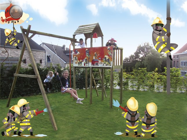Afbeelding van BnB Wood schommel met speeltoren Fireman from DreamLand