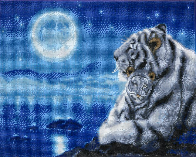 Afbeelding van Craft Buddy Crystal Art kit White tigers from DreamLand