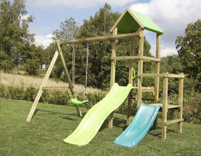 Image pour BnB Wood portique Little Eden Duo avec toboggans Lime et turquoise à partir de DreamLand