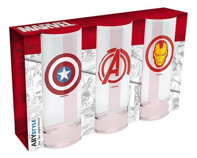 Afbeelding van Set met 3 glazen Marvel from DreamLand