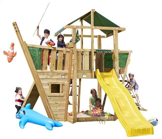 Afbeelding van Houten speeltoren De Hut met boot en gele glijbaan from DreamLand