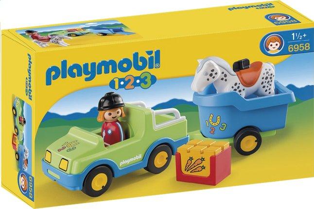 Afbeelding van Playmobil 1.2.3 6958 Wagen met paardentrailer from DreamLand