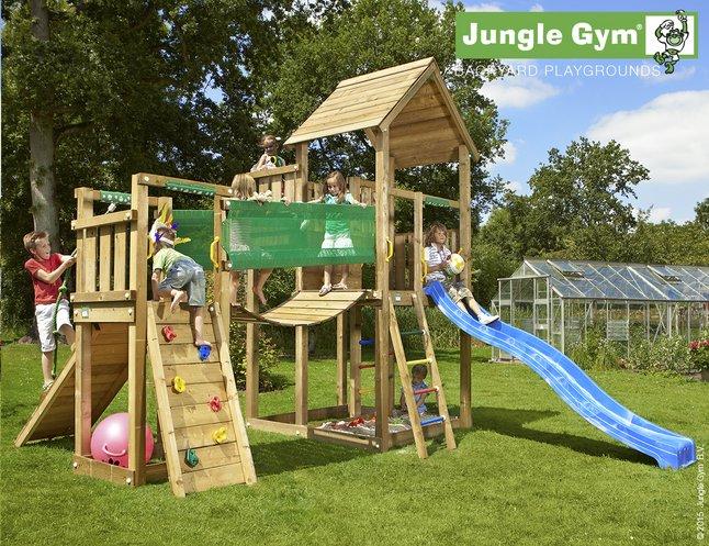 Afbeelding van Jungle Gym speeltoren Palace met brug en blauwe glijbaan from DreamLand