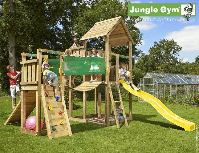 Afbeelding van Jungle Gym speeltoren Palace met brug en gele glijbaan from DreamLand