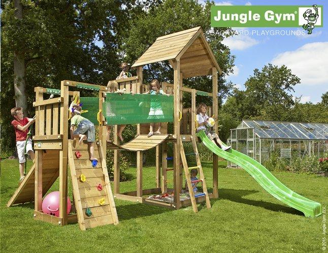 Afbeelding van Jungle Gym speeltoren Palace met brug en groene glijbaan from DreamLand