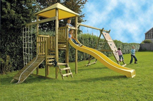 Afbeelding van BnB Wood complete schommelset Zolder met gele glijbaan from DreamLand