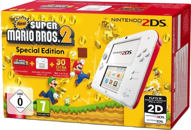 Afbeelding van Nintendo 2DS console wit/rood + New Super Mario Bros. 2 from DreamLand