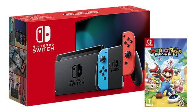 Afbeelding van Nintendo Switch Console rood/blauw + Mario Rabbids Kingdom Battle from DreamLand