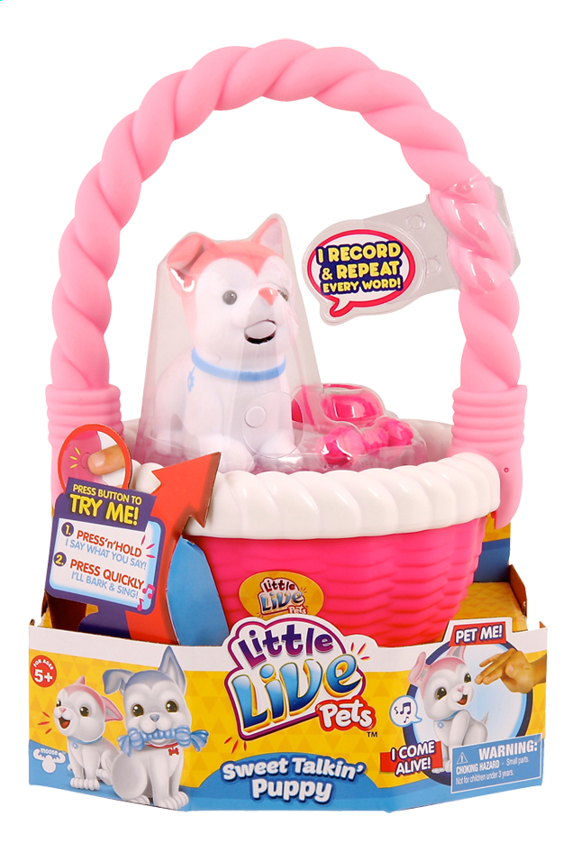 Afbeelding van Little Live Pets Sweet Talkin' Puppy with basket roze from DreamLand