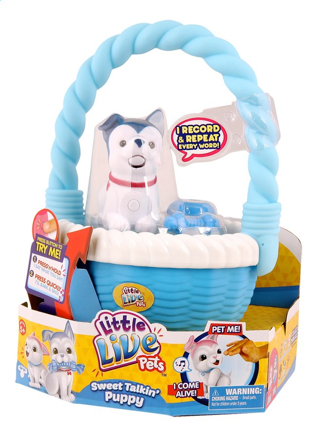 Afbeelding van Little Live Pets Sweet Talkin' Puppy with basket blauw from DreamLand