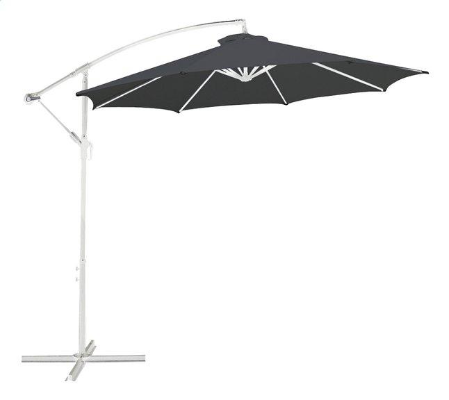 Parasol suspendu métal Ø 3 m gris avec mât blanc
