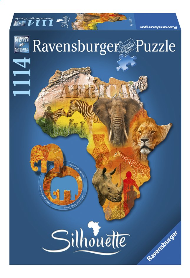 Afbeelding van Ravensburger puzzel Silhouette Afrikaans continent from DreamLand