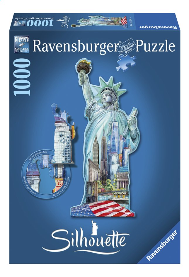 Afbeelding van Ravensburger puzzel Silhouet Vrijheidsbeeld New York from DreamLand