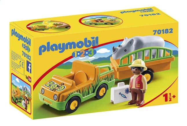 PLAYMOBIL 1.2.3 70182 Vétérinaire avec véhicule et rhinocéros