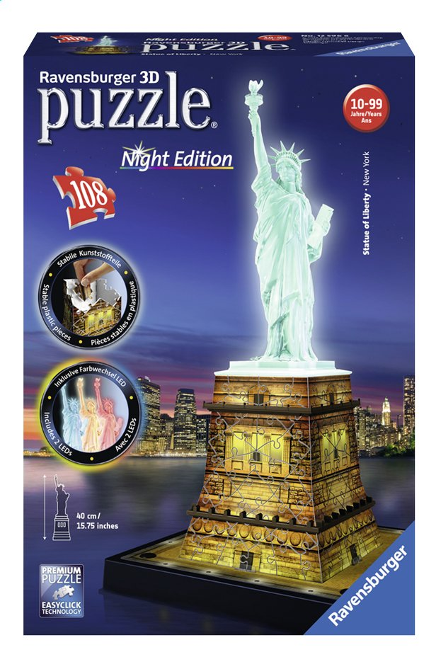 Afbeelding van Ravensburger 3D-puzzel Statue of Liberty-Night Edition from DreamLand